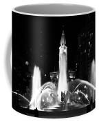 Logan Square Fountain At Night In Black And White Coffee Mug