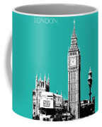 London Skyline Big Ben - Teal Coffee Mug