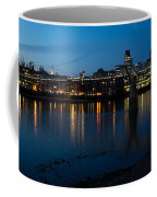 London Skyline Reflecting In The Thames River At Night Coffee Mug