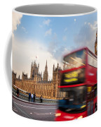 London The Uk Red Bus In Motion And Big Ben Coffee Mug