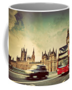 London The Uk Red Bus Taxi Cab In Motion And Big Ben Coffee Mug