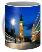 London Uk Red Bus In Motion And Big Ben At Night Coffee Mug