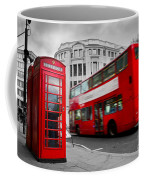 London Uk Red Phone Booth And Red Bus In Motion Coffee Mug
