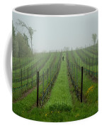 Lone Figure In Vineyard In The Rain On The Mission Peninsula Michigan Coffee Mug