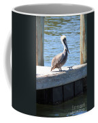 Lone Pelican On Pier Coffee Mug