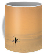 Lone Person Canoeing On Lake Coffee Mug