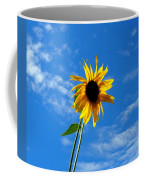 Lone Sunflower In A Summer Blue Sky Coffee Mug