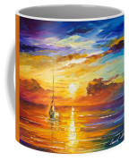 Lonely Sea 2 - Palette Knife Oil Painting On Canvas By Leonid Afremov Coffee Mug