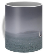 Lonely Travel Boat Travelling In The Ocean Coffee Mug