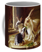 Long-eared Rabbits In A Cage Watched By A Cat Coffee Mug by Horatio Henry Couldery