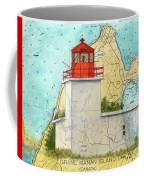 Long Eddy Pt Lighthouse Nb Canada Chart Art Peek Coffee Mug
