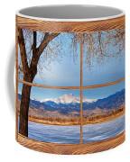 Longs Peak Across The Lake Barn Wood Picture Window Frame View Coffee Mug