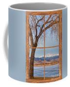 Longs Peak Winter Lake Barn Wood Picture Window View Coffee Mug