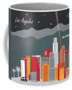 Los Angeles California Horizontal Skyline - Hollywood Hills - Night Coffee Mug by Karen Young