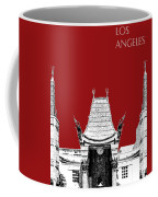 Los Angeles Skyline Graumans Chinese Theater - Dark Red Coffee Mug