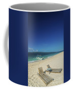 Lounge Chairs And Traditional Boat On Puka Beach In Boracay Phil Coffee Mug