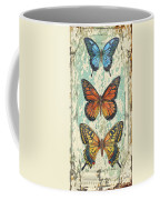 Lovely Butterfly Trio On Tin Tile Coffee Mug
