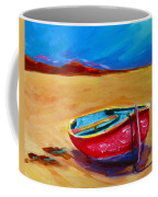 Low Tides - Landscape Of A Red Boat On The Beach Coffee Mug by Patricia Awapara