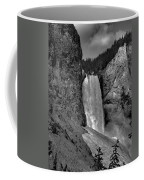 Lower Falls In Yellowstone In Black And White Coffee Mug