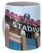 Lucas Oil Stadium Sign Coffee Mug by James Drake