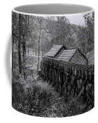 Mabry Mill Water Shute In Black And White Coffee Mug