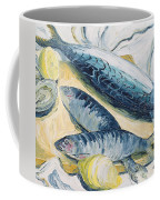 Mackerel With Oysters And Lemons, 1993 Oil On Paper Coffee Mug