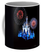 Magic Kingdom Castle In Blue With Fireworks Coffee Mug