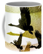 Magpie Geese In Flight Coffee Mug by Holly Kempe