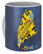 Maine License Plate Map Vintage Vacationland Motto Coffee Mug by Design Turnpike