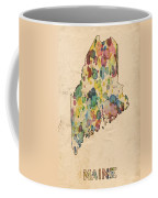 Maine Map Vintage Watercolor Coffee Mug