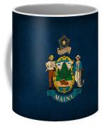 Maine State Flag Art On Worn Canvas Coffee Mug