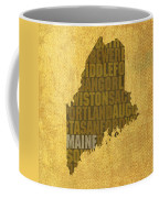 Maine Word Art State Map On Canvas Coffee Mug