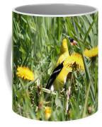Male American Goldfinch Camouflage Coffee Mug
