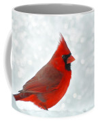 Male Cardinal In The Snow - Digital Paint Coffee Mug