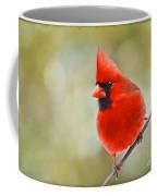 Male Cardinal On Angled Twig - Digital Paint Coffee Mug