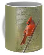 Male Cardinal On Twigs With Bible Verse Coffee Mug