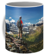 Male Hiker Standing On Top Of Mountain Coffee Mug
