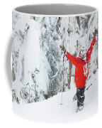 Male Skier Throws His Hands Coffee Mug