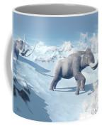 Mammoths Walking Slowly On The Snowy Coffee Mug