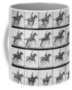 Man And Horse Jumping A Fence Coffee Mug