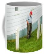 Man At Headstone Coffee Mug