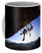 Man Climbing On An Overhang In Joshua Coffee Mug