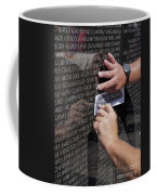 Man Getting A Rubbing Of Fallen Soldier's Name At The Vietnam War Memorial Coffee Mug