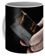 Man Hands Holding Old Bible Coffee Mug