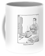 Man, Holding Dog, Speaks To Dog As Both Watch Coffee Mug by Harry Bliss
