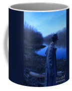 Man In Fedora By River Coffee Mug