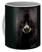 Man In The Hooded Cloak Holding Burning Human Skull In His Hand Coffee Mug
