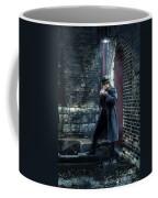 Man In Trenchcoat Lighting A Cigarette Coffee Mug