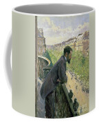 Man On A Balcony Coffee Mug by Gustave Caillebotte