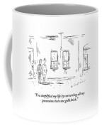 Man Speaking To Woman In An Apartment That Coffee Mug